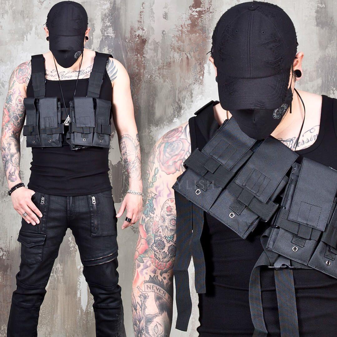 NewStylish Mens Fashion Techwear multiple mesh pocket utility bag