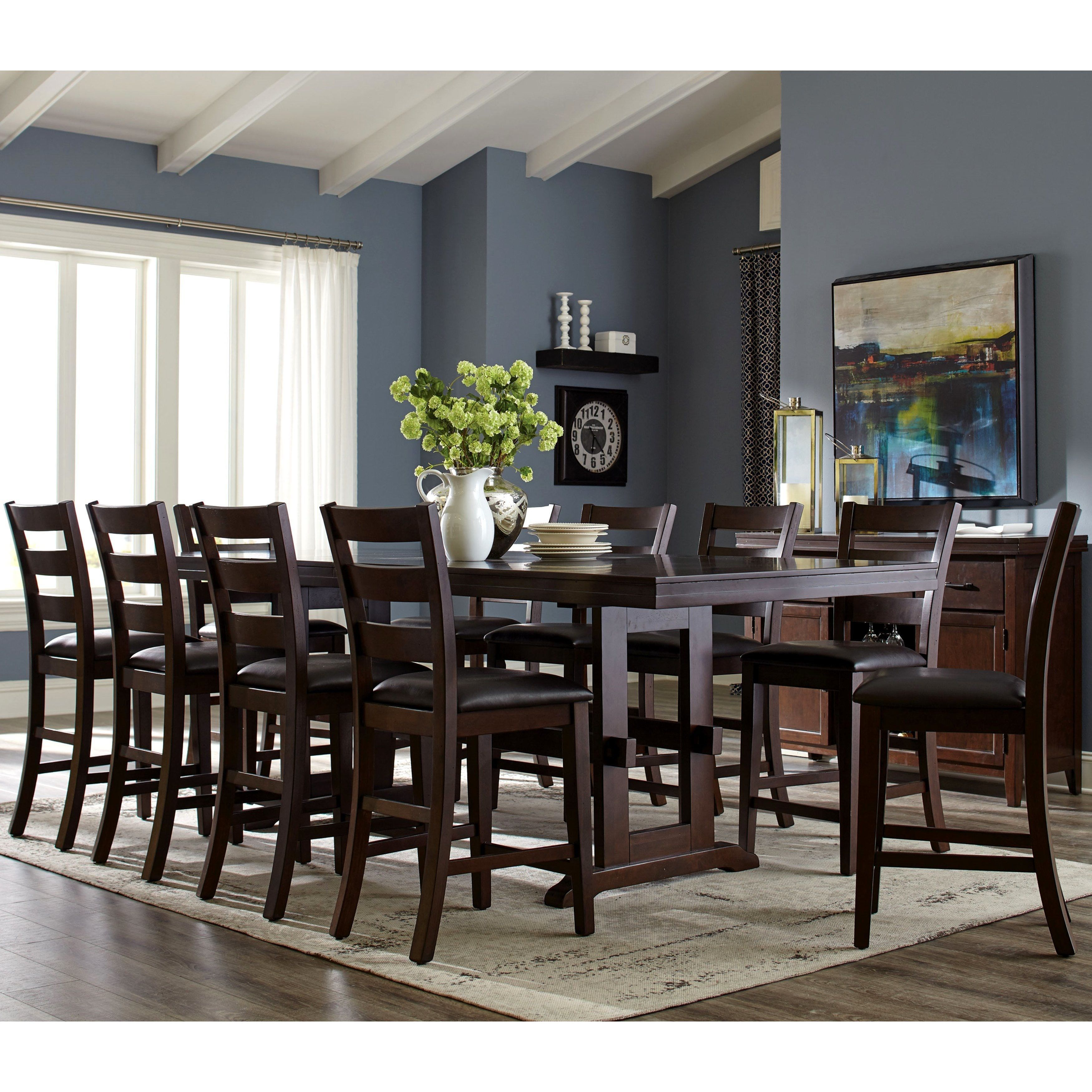 Dining Room Table Length: Trestle Base Counter Height Dining Set With Ladder Back