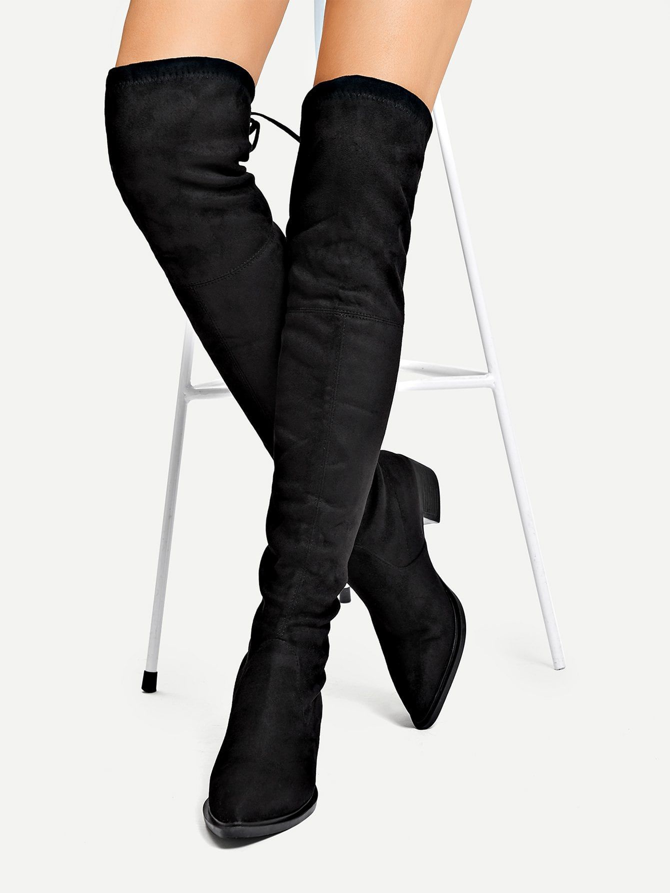 ada77f91b6 Casual Point Toe OTK/Thigh High No zipper Black Low Heel Suede Over The  Knee Boots