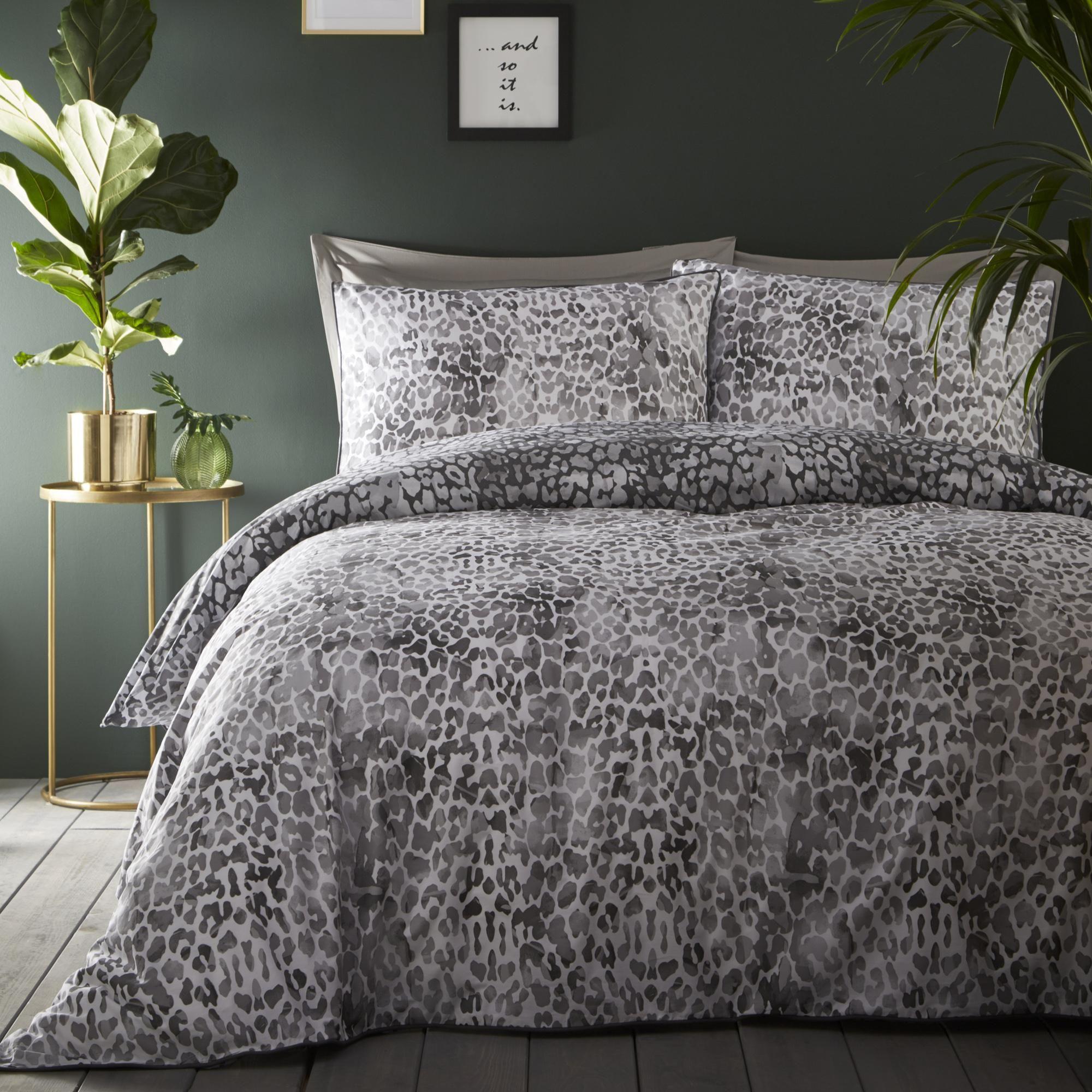 Appletree Kalahari Grey Animal Print 100 Cotton Duvet Cover And
