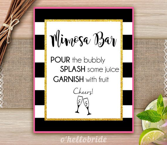 Mimosa Bar Sign Black and White Pink Gold  Bridal by ohellobride