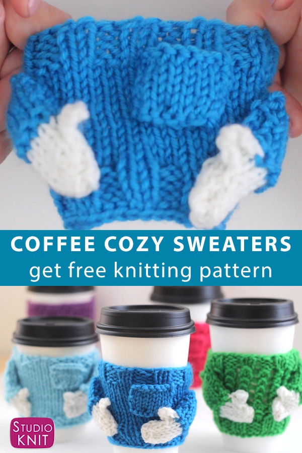 So easy and adorable! You'll love making adorable Knitted Coffee Cozy Sweaters for friends. They make awesome quick knit gifts and these mug cozies look just a real sweater. #StudioKnit #CoffeeCozy #knitcozy #freeknittingpattern #easyknitting