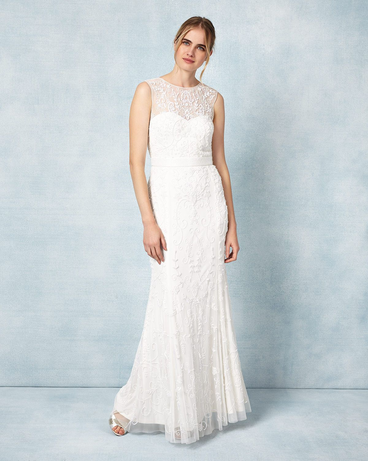 Featuring all-over beaded embellishment, this floor length wedding ...
