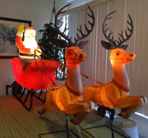 Sleigh Santa Reindeer Christmas