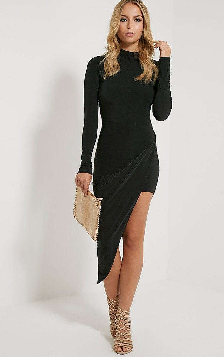 Saffy Black Long Sleeve Drape Dress Image 1 | lbd | Pinterest ...