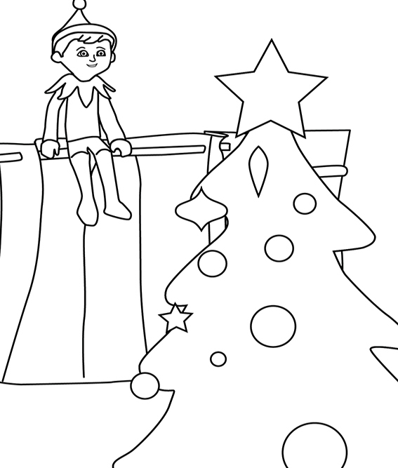 Christmas Coloring Pages Elves Shelves and Shelf ideas
