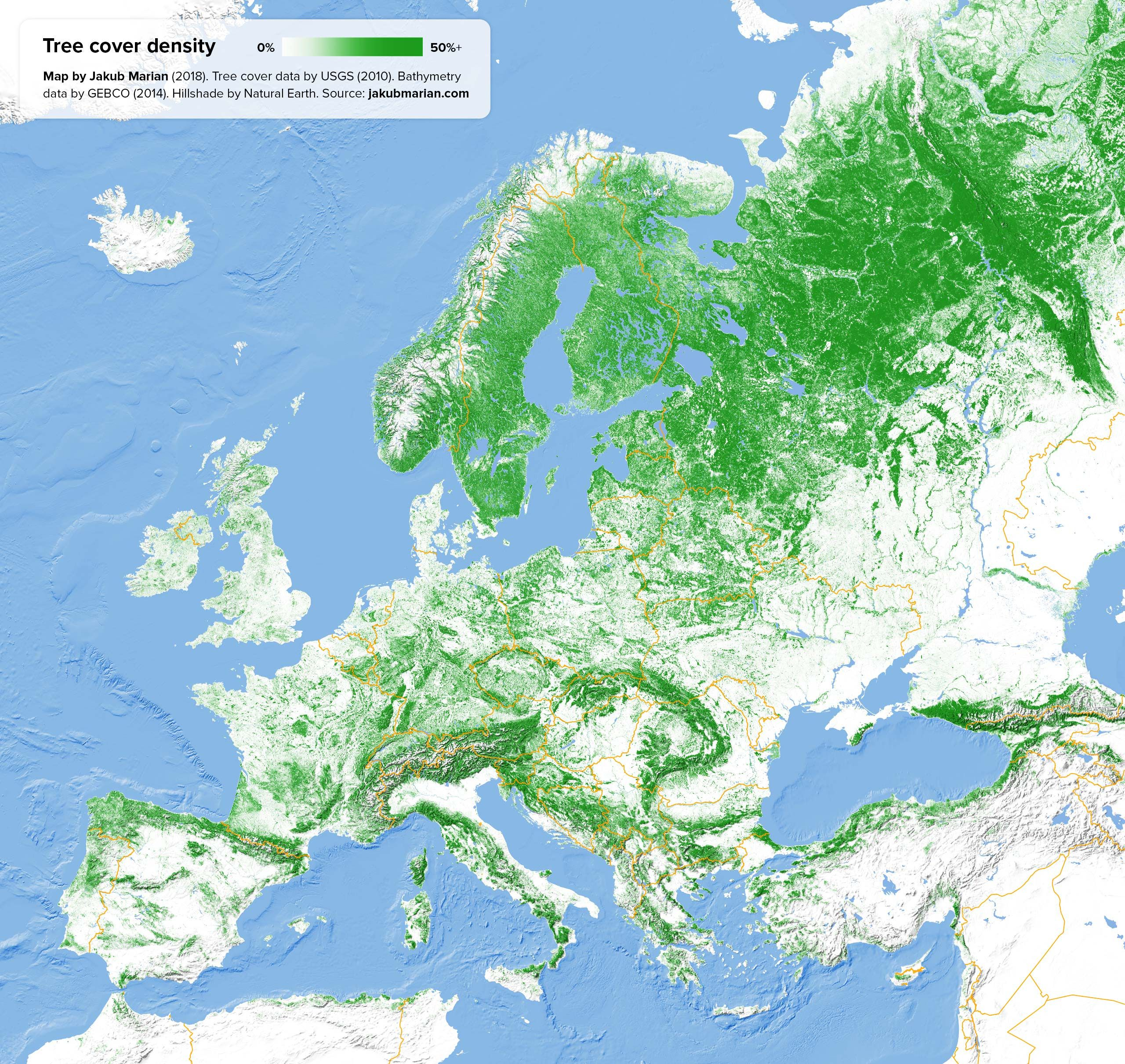 Tree Cover Density of Europe by Jakub Marian #map #europe #forests ...
