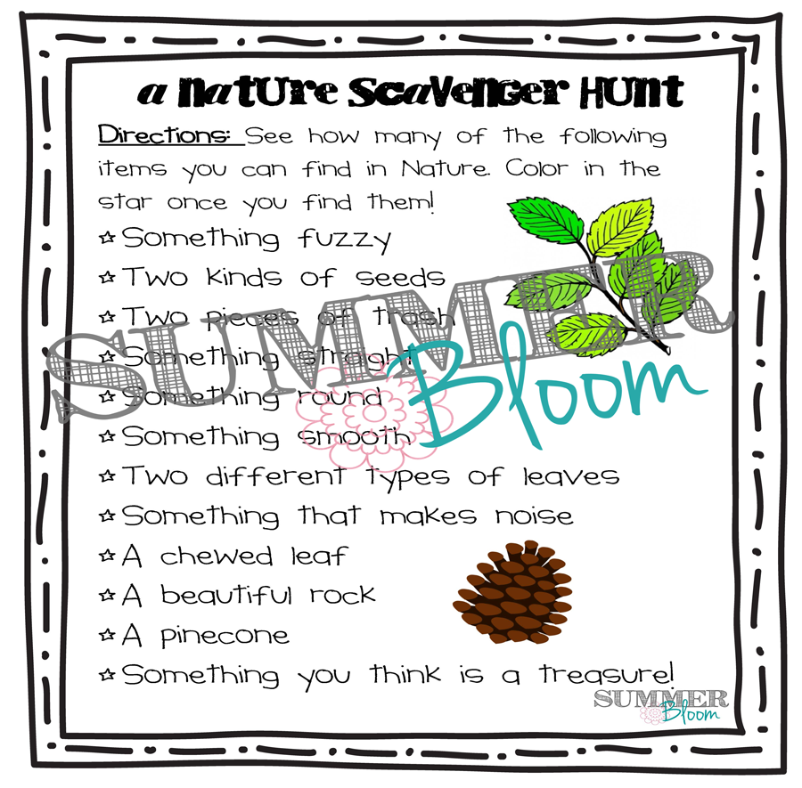 Nature Scavenger Hunt FREEBIE from SummerBloom!