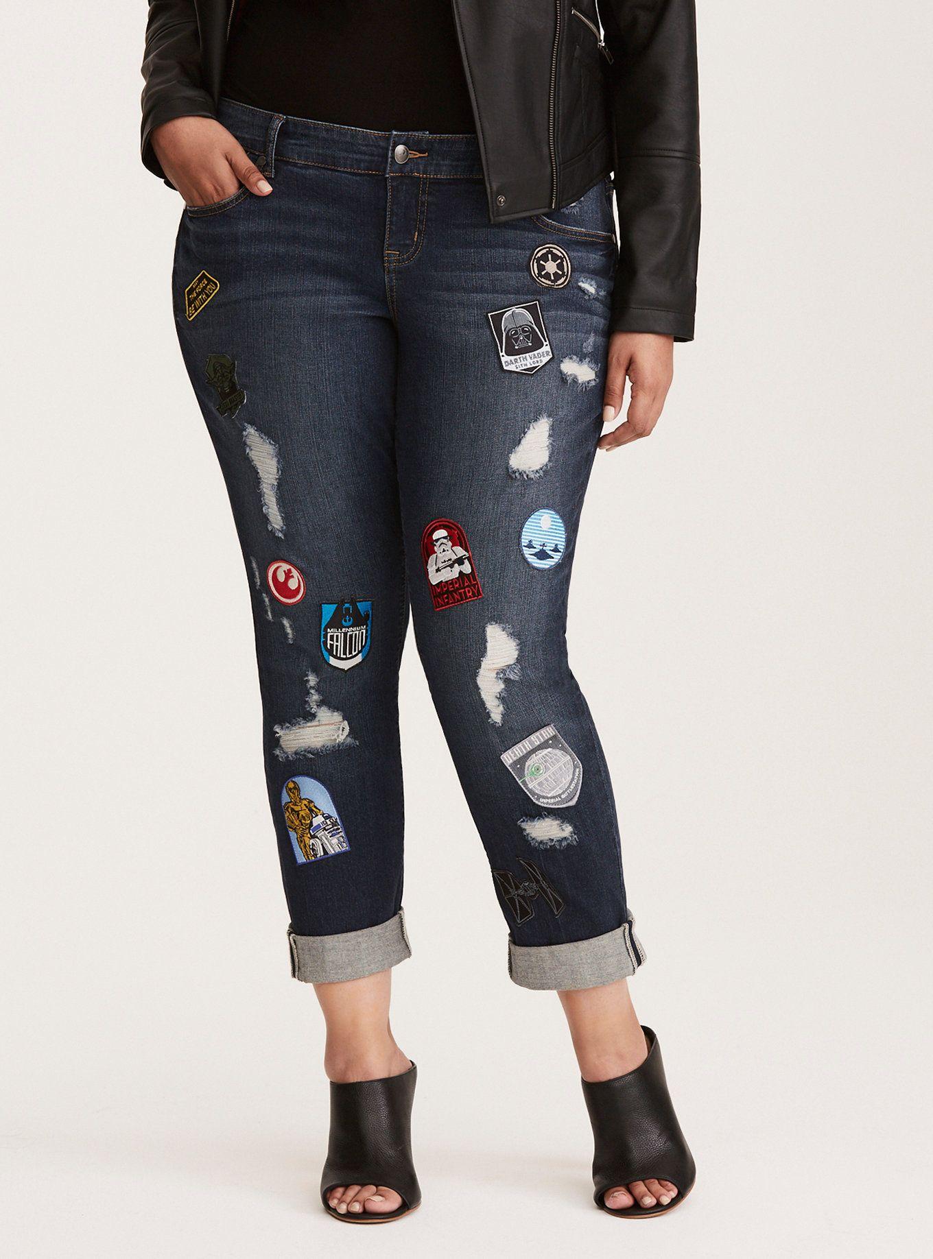 b7d4f52e9be Torrid Premium Boyfriend Jeans - Dark Wash with Star Wars Patches, - $99