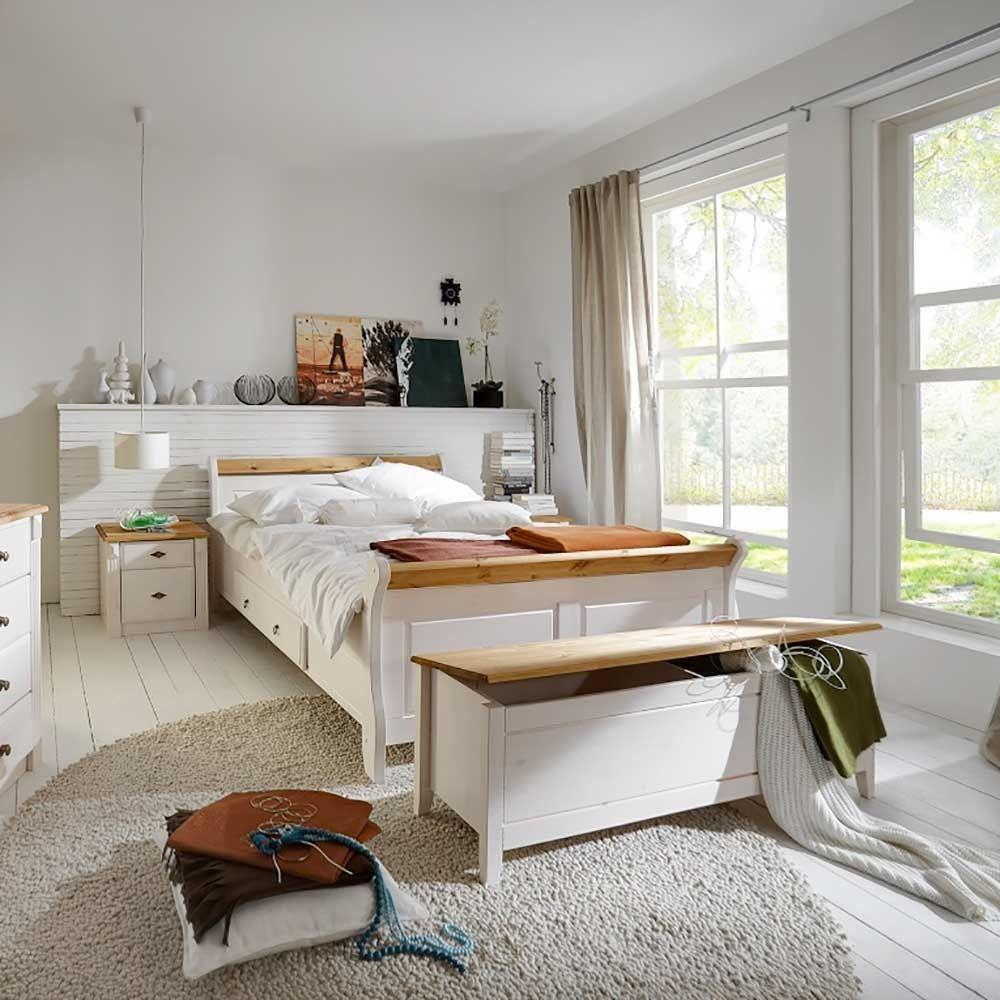 Schlafzimmerset Bazna in Weiß Kiefer massiv im Landhausstil (4 ...