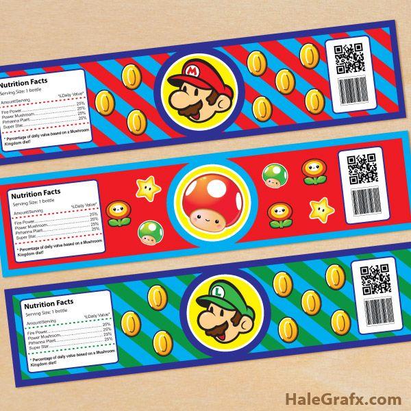Free Printable Super Mario Bros Water Bottle Labels Super Mario Bros Party Mario Bros Party Super Mario Birthday Party