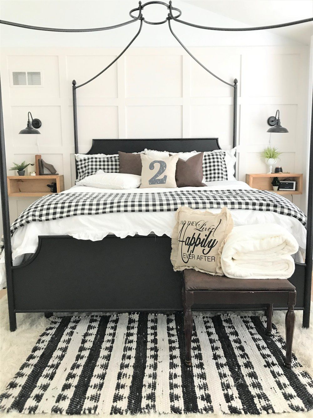 Modern Farmhouse Bedroom Makeover Master Buffalo Check Plaid Black And White Diy Wood Leather Magnolia Boho