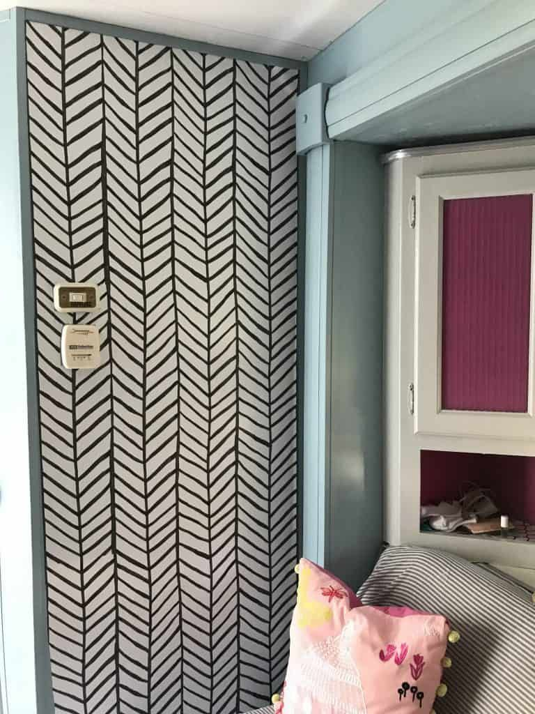 How To Paint Camper Walls And Cabinets Step By Step Guide With Pictures Colorful Designe Peel And Stick Wallpaper How To Remodel A Camper Remodeled Campers