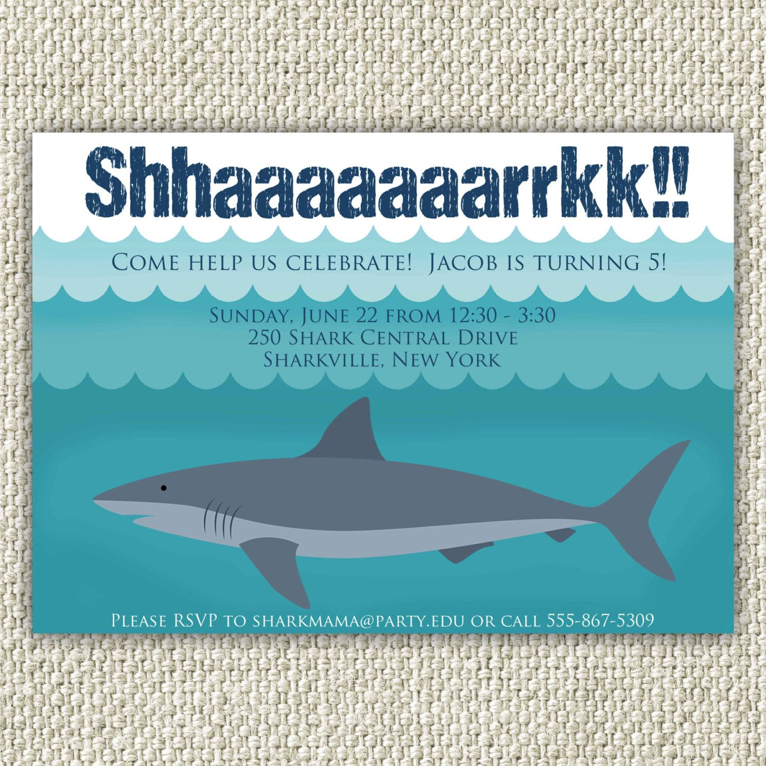 Custom Printable Shark themed birthday party invitation Birthday
