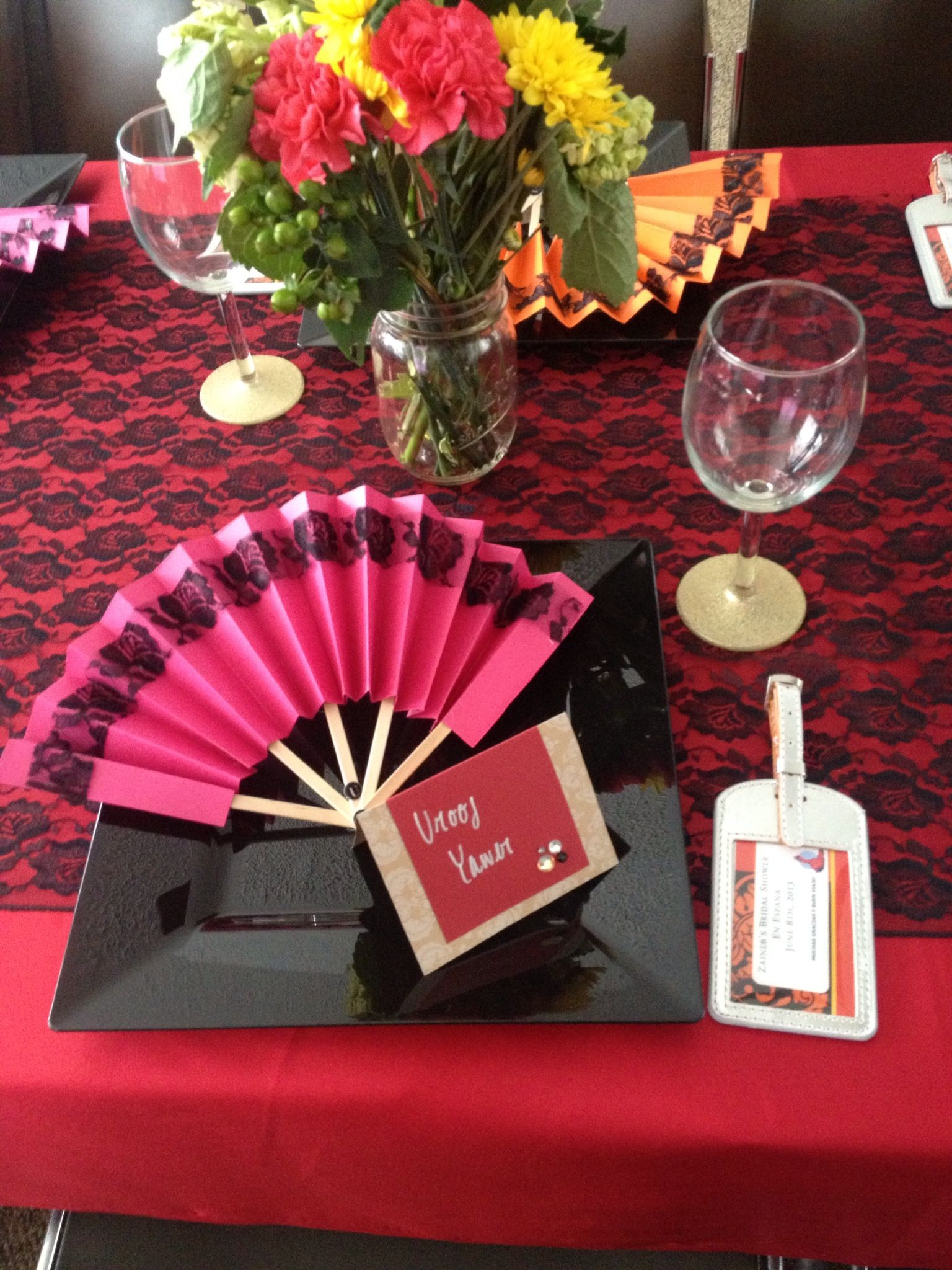spanish bridal shower place setting spanish party decorations spanish themed party paella party