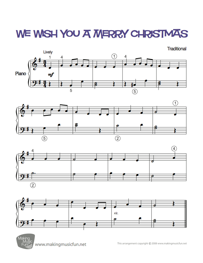 We Wish You A Merry Christmas Easy Piano Sheet Music Digital Print Visit Makingmusicfun Net For Free Sheet Music Mus Sheet Music Piano Sheet Music Piano