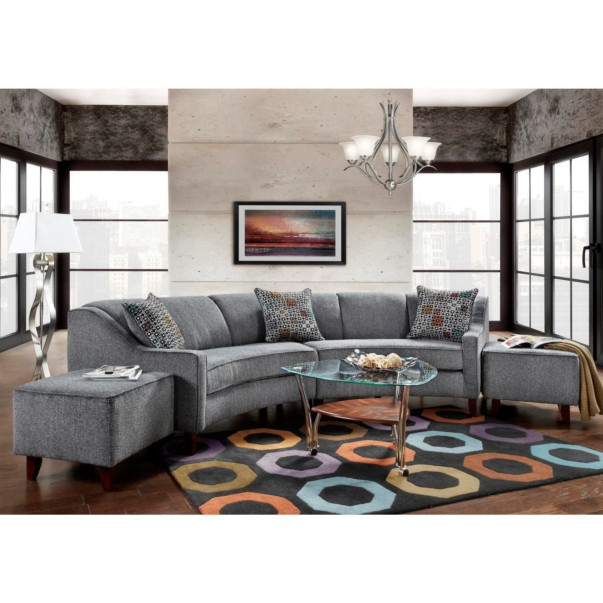 Sofa Trendz Bindel Grey Curved Sectional Sofa with Ottoman ...