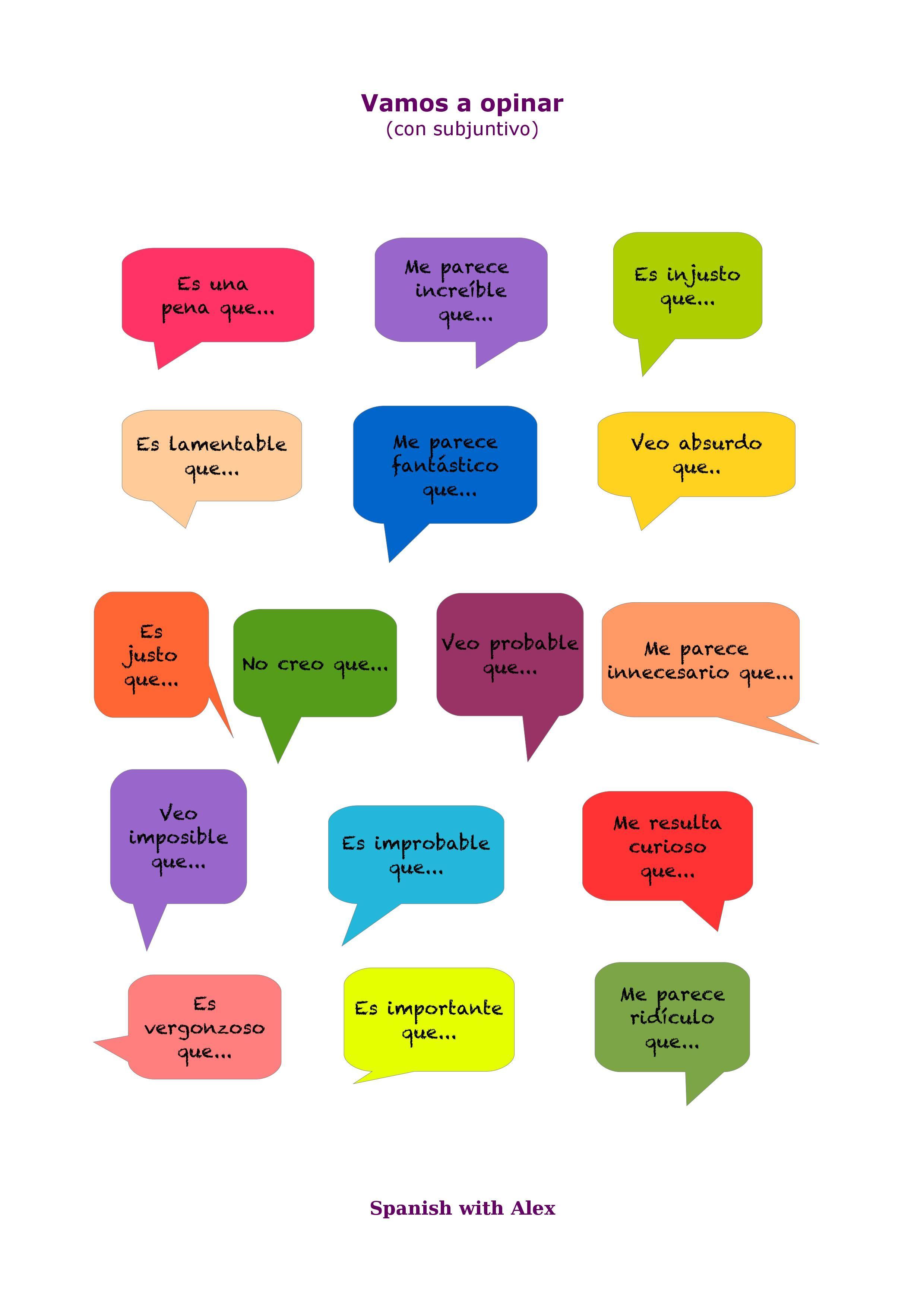 Expresiones de opinión y valoración en subjuntivo. Nivel B2 ...