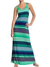Women's Striped Crew-Neck Maxi Dresses