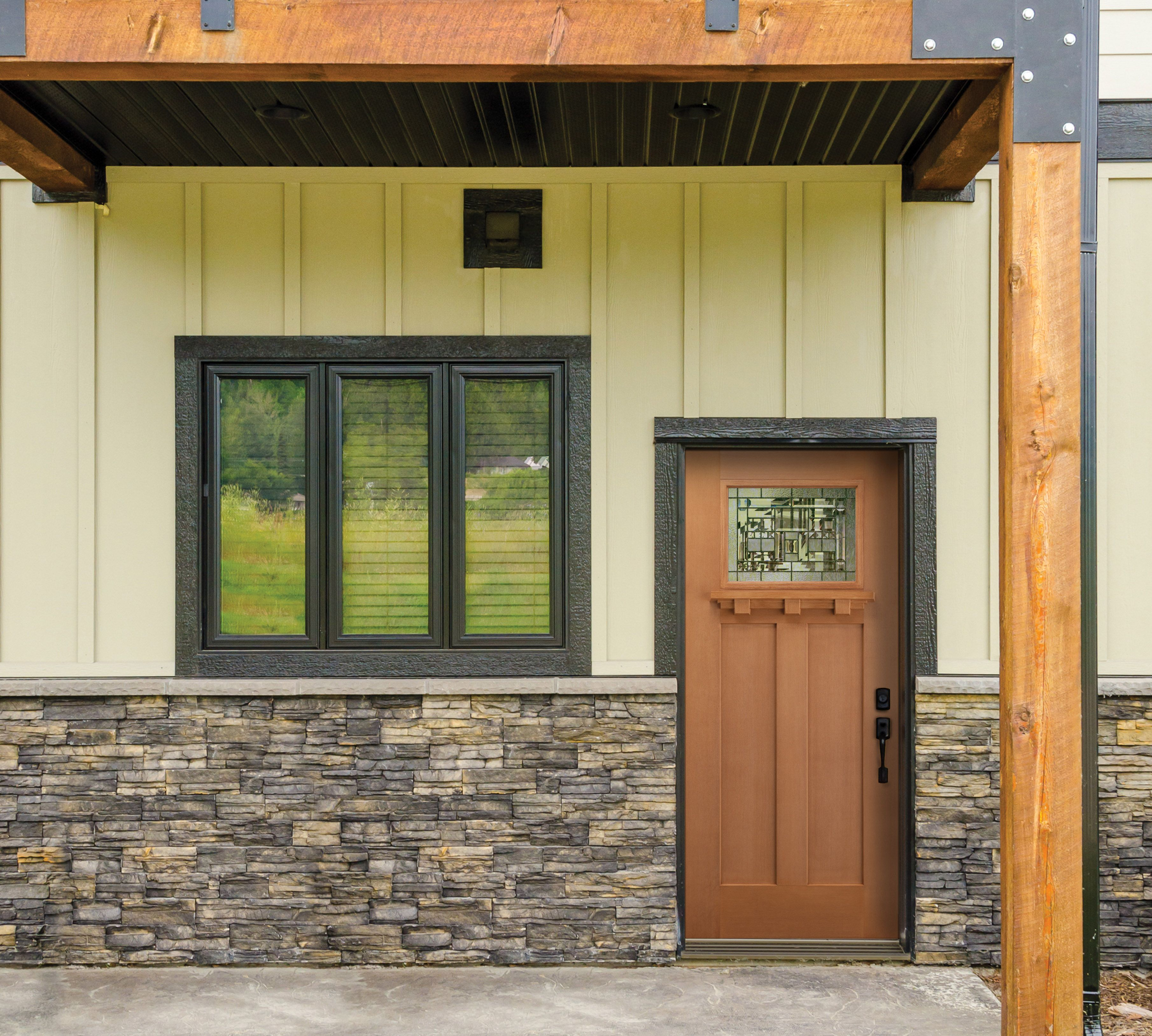 The Belleville Fir Textured Craftsman Door With Naples Glass And Applied Dentil  Shelf Is Thoughtful And