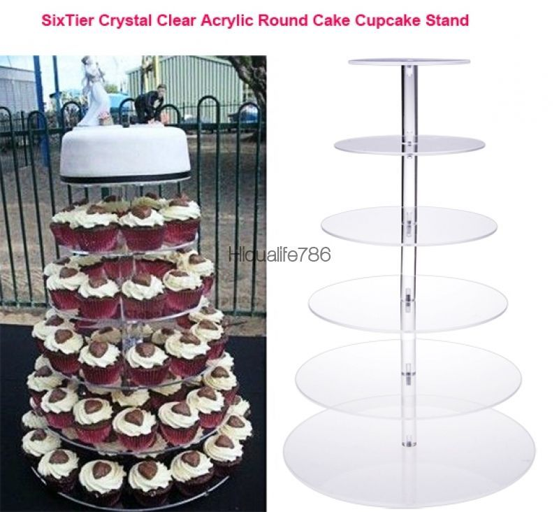 6 Tier Clear Acrylic Round Cake Cupcake Stand Wedding Birthday Display USA