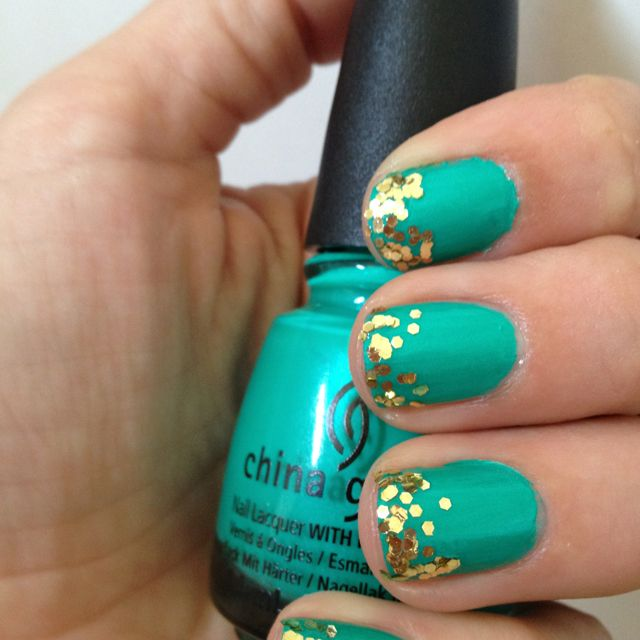 turquoise glitter tipped nails