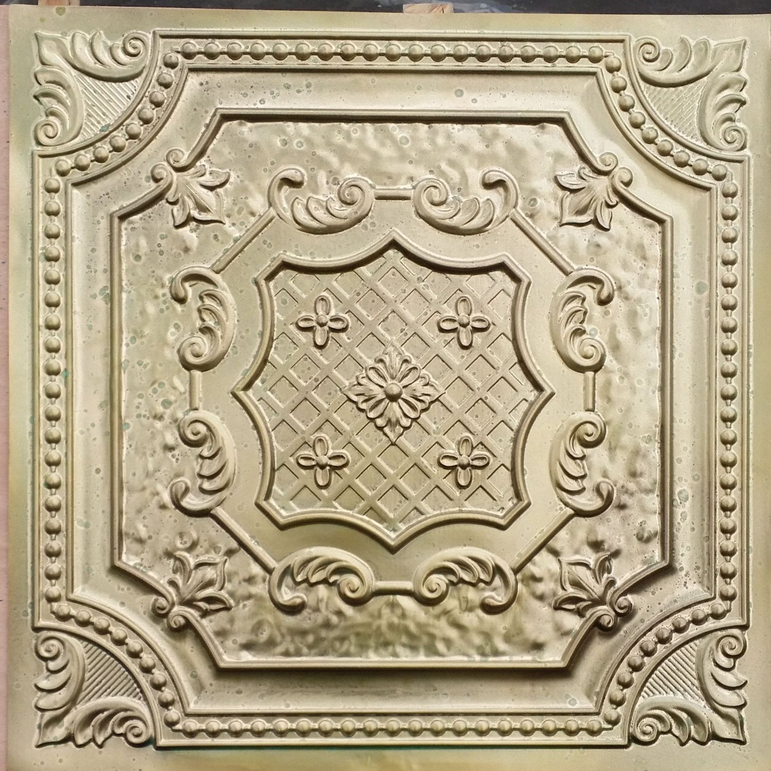 pl04 faux tin finished aged brass 3d embossed ceiling tiles