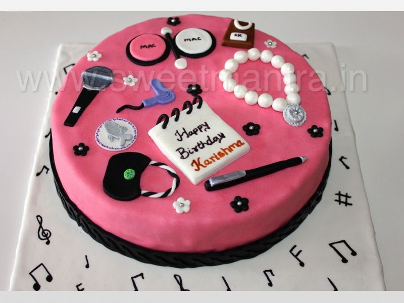 Homemade Eggless 3dcustom Jewellery And Makeup Theme Birthday Cake