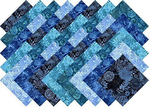 Blue Printed Batik Collection 40 Precut 5-inch Quilting Fabric ... : pre cut quilt fabric - Adamdwight.com