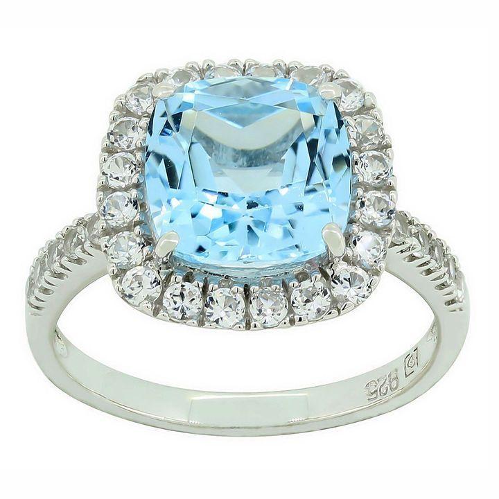 Fine Jewelry Genuine Blue Topaz and Lab-Created White Sapphire Ring 3jm1lHl