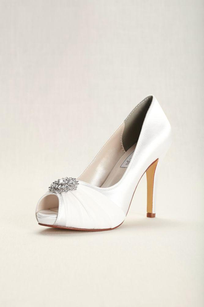 93c46efcbc3 Dyeable Chiffon and Satin Peep-Toe Heels Style 4158