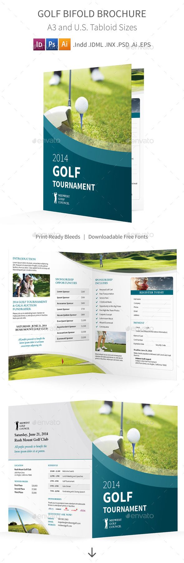 Golf Tournament Bifold  Halffold Brochure  Golf Cleanses And
