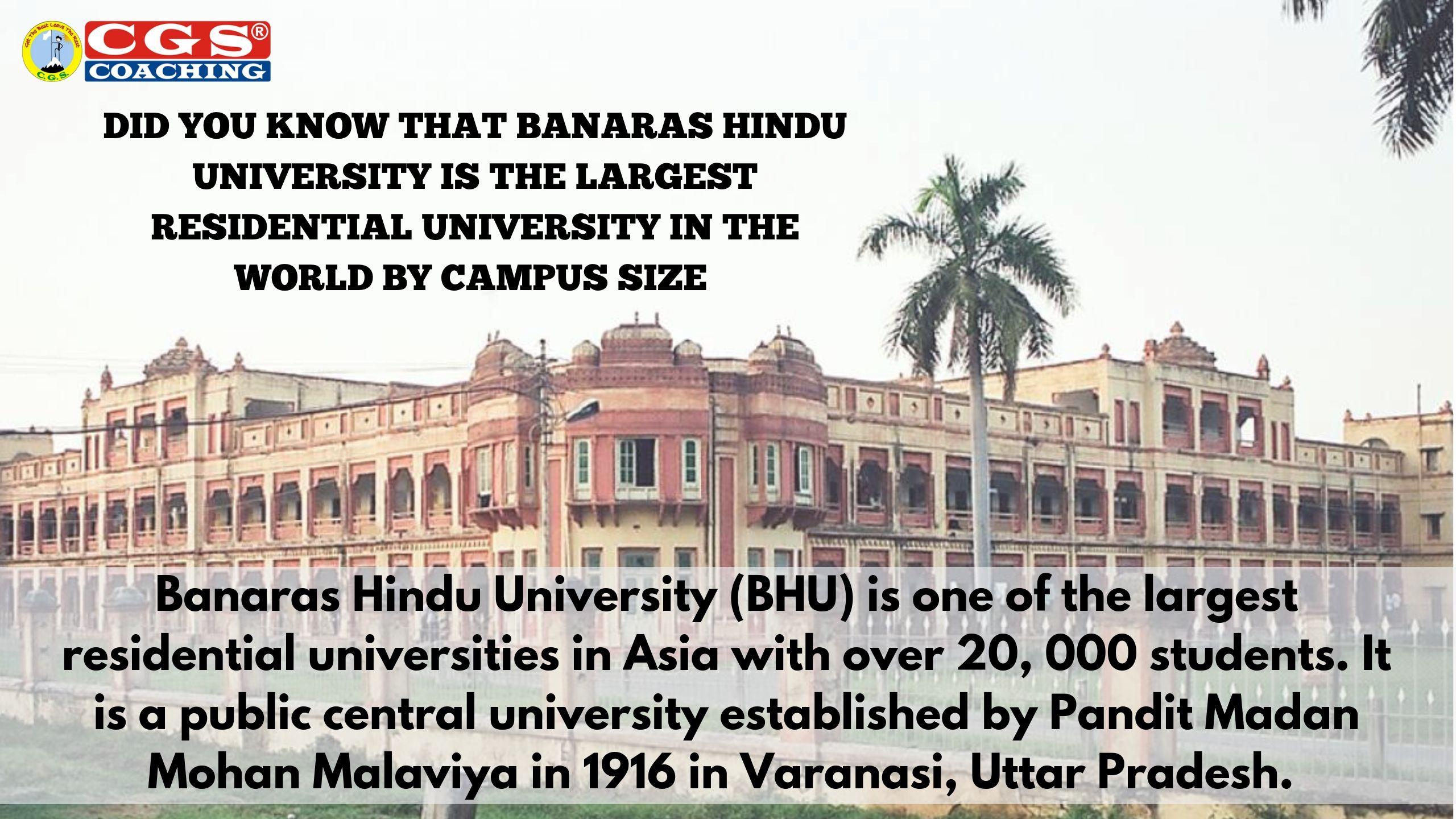 Largest University By Campus Size Central University Banaras Hindu University Government Services