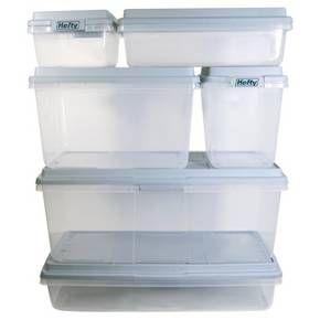 Hefty 32 Quart Storage Container Slim Clear Plastic Storage Bin