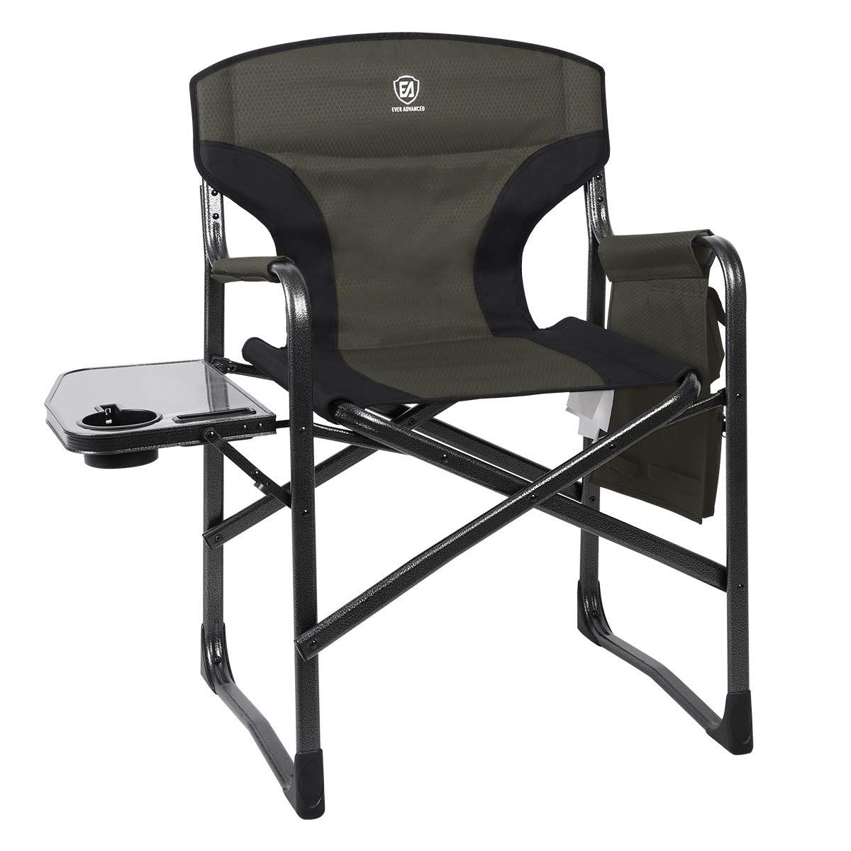 Ever Advanced Full Back Aluminum Folding Directors Chair With Side Table And Storage Pouch Heavy Duty 350lbs In 2020 Directors Chair Chair Outdoor Chairs
