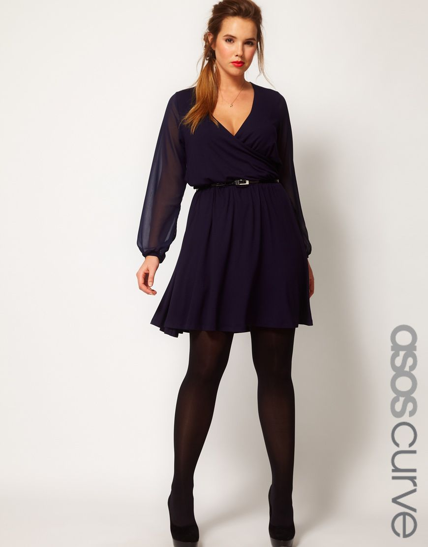 Asos curve wrap dress with chiffon sleeves plus size
