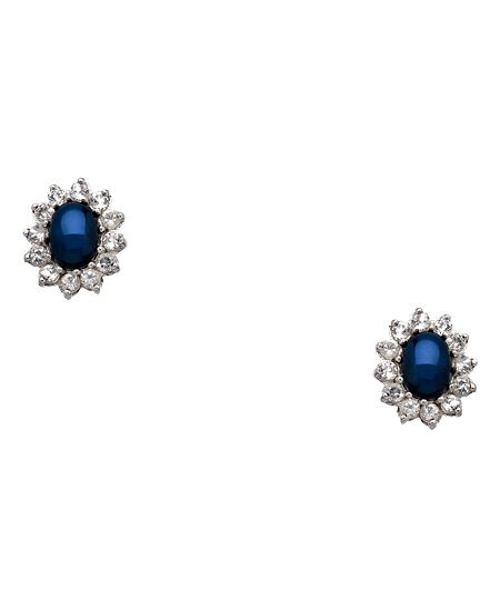 $220 Yobrevol Silver Star Sapphire and White Topaz Stud Earrings