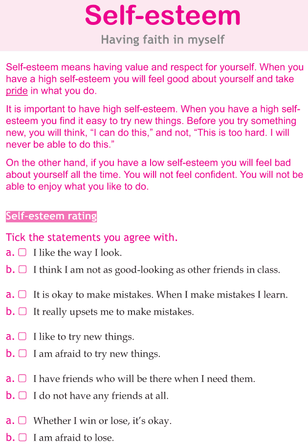 A Self Esteem Checklist I Don T Really Believe In The