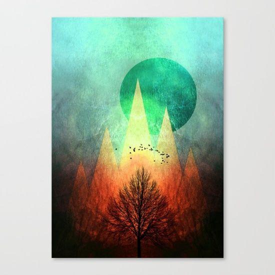 TREES under MAGIC MOUNTAINS II Canvas Print by Pia Schneider [atelier COLOUR-VISION] #art #canvasprint #bestseller #trees #landscape #magic #mountains #bold #colorful #birds #modernart #wallartdecor #decoridea #artprints #society6 #piaschneider