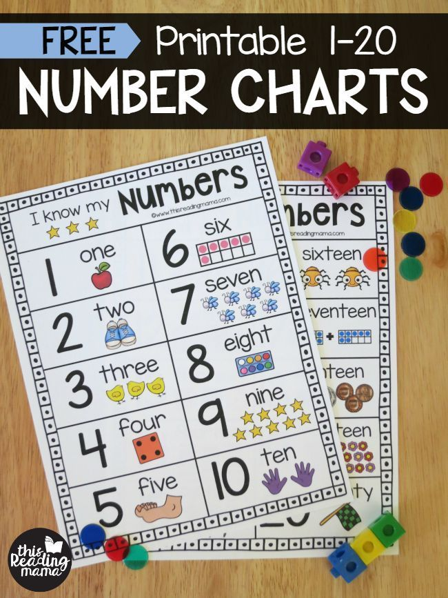 Printable Number Chart for Numbers 1-20 | Number chart, Chart and Number