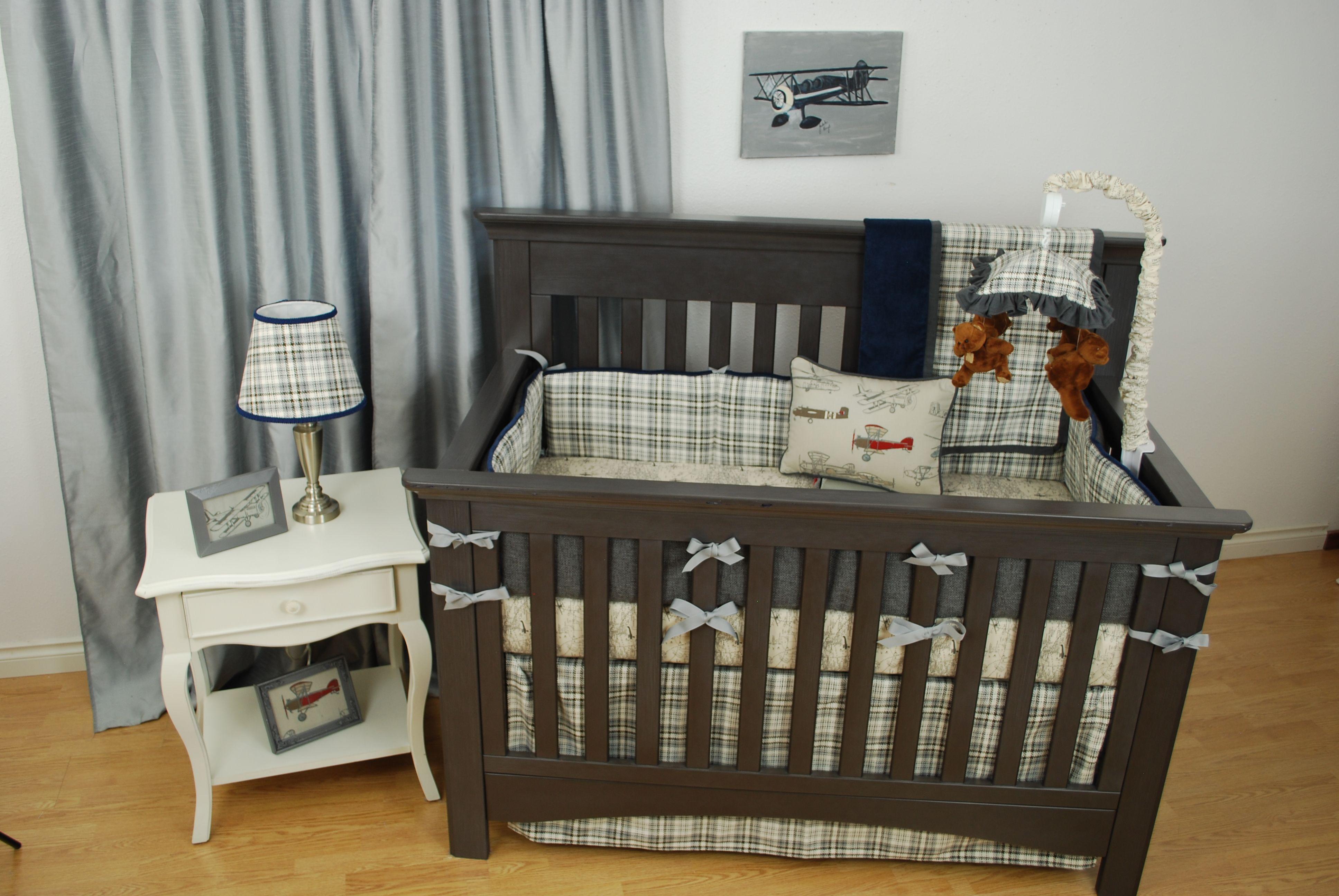 Crib for sale gatineau - Vintage Plaid And Airplane Crib Bedding