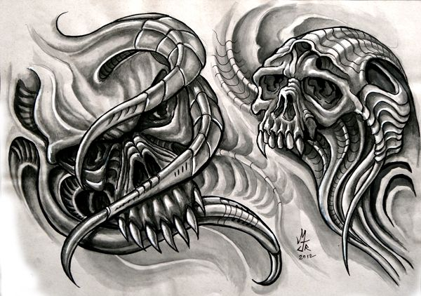 Skull Biomech 2 | Biomechanical tattoo design, Skull ...