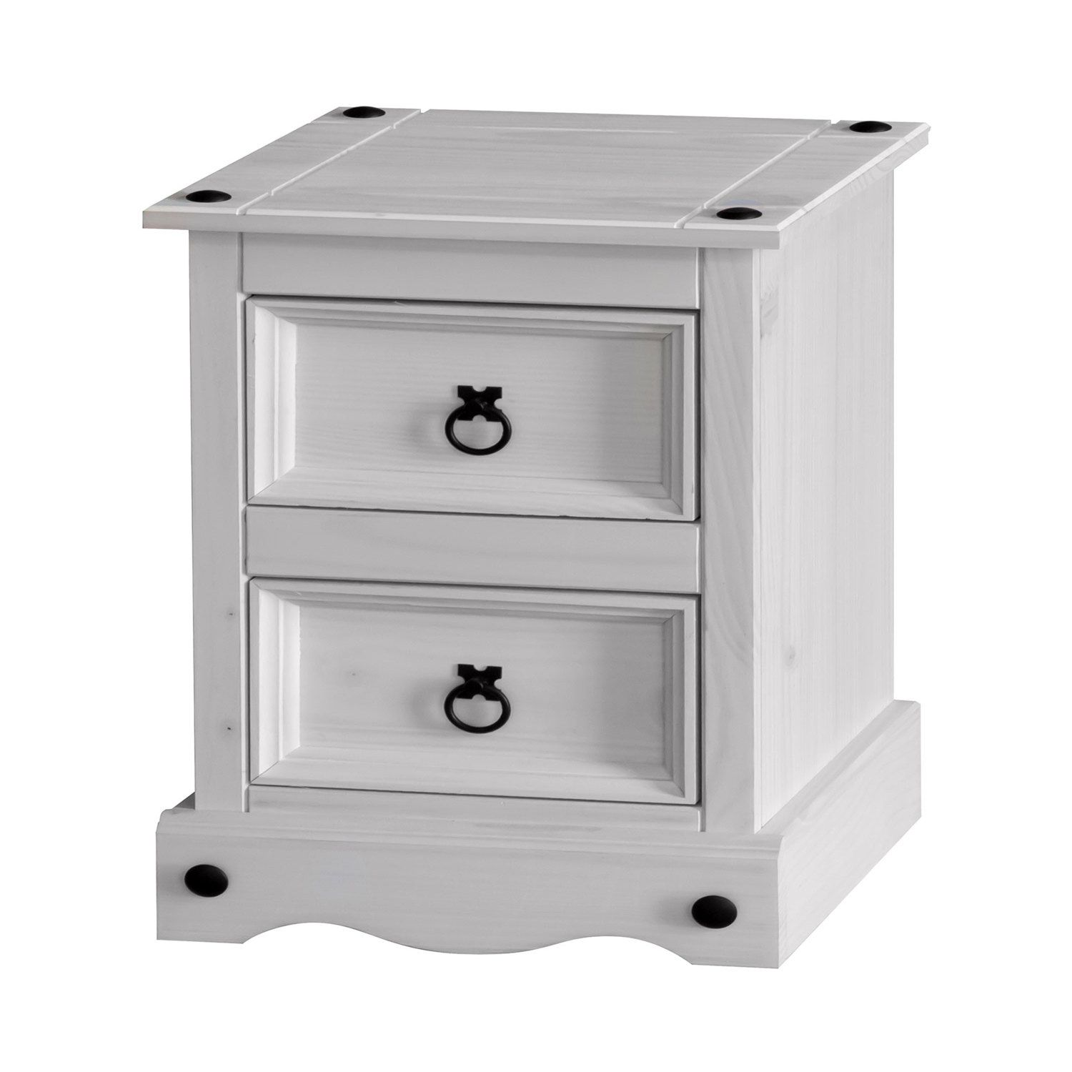 c18a30ea54e6 Corona White Wash Two Drawer Bedside Cabinet
