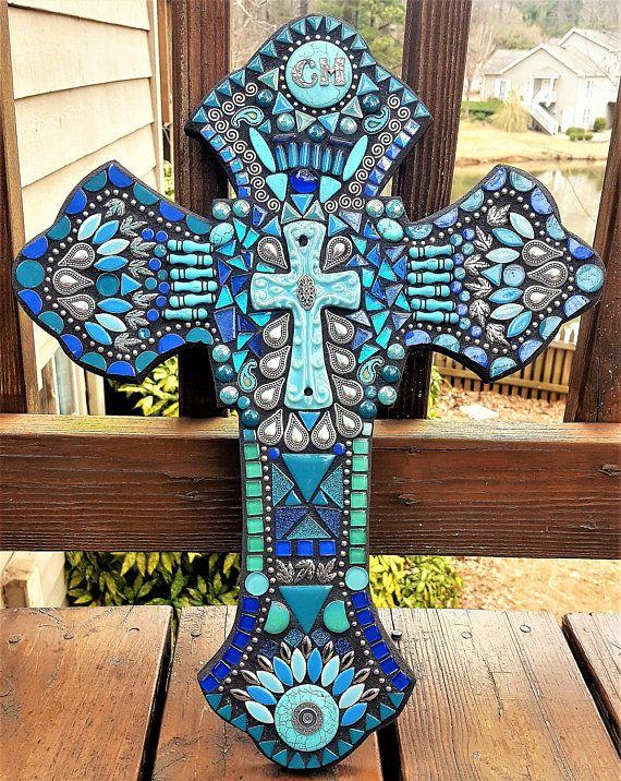 CUSTOM MOSAIC Cross Turquoise Teal Blue & Silver