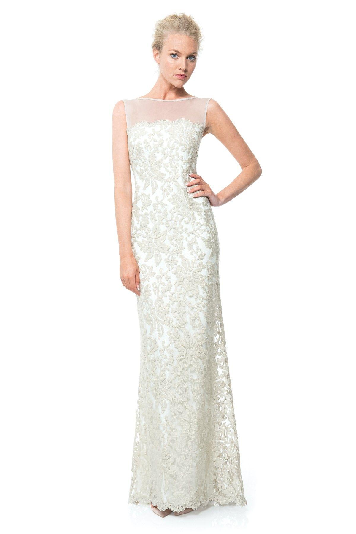 Sheer Illusion Lace Gown | Tadashi Shoji | The Dress | Pinterest ...