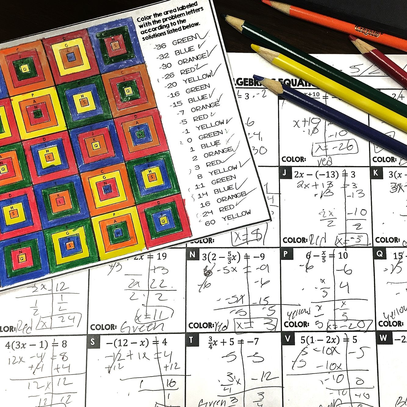 Solving Two Step Equations Granny Squares Coloring