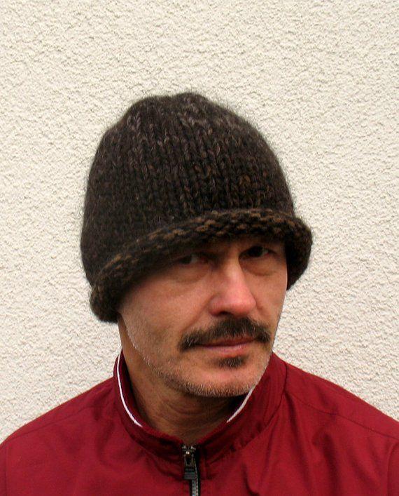 Mens winter hat 100% natural icelandic wool black hat ECO Boys handmade  pure wool cap Cozy knitted black Winter Roll Brim hat warm chunky 0b1107a58f5e