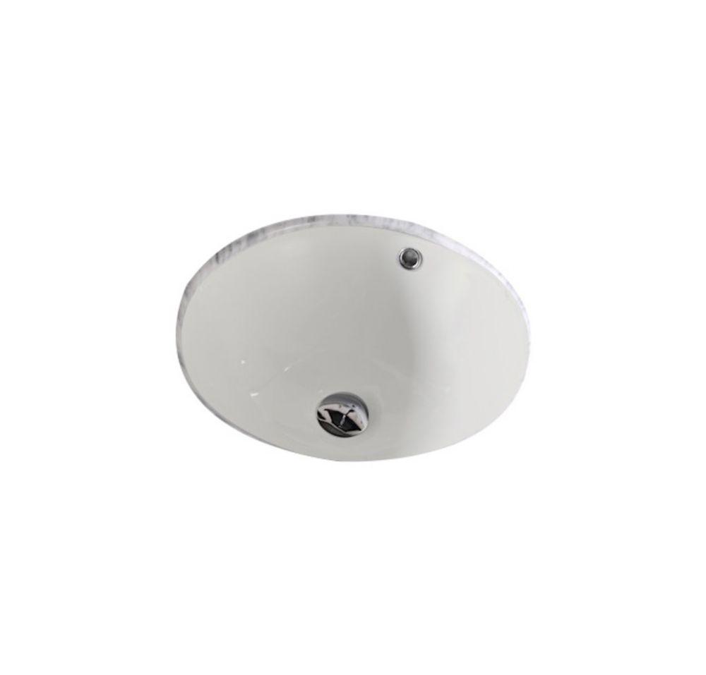 16 Inch W X 16 Inch D Round Undermount Sink In Biscuit With Enamel