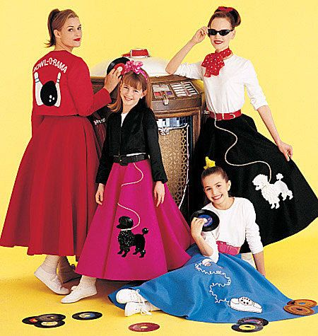 Retro 50s Malt Shop Poodle Skirt And Jacket Costume Pattern By McCalls 6234 Adult 12