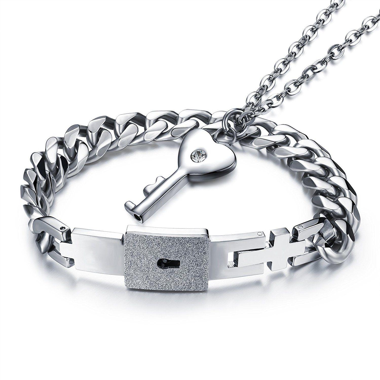 Emma His & Hers Lock and Key Couple Bracelet Lovers Bracelets Adjustable For Girlfriend Boyfriend Chain Bangle N5fZsLB